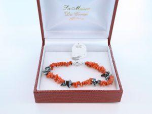 Bracelet en corail rouge véritable de Méditerranée et argent 925 par 1000 BR-CO-AR-052