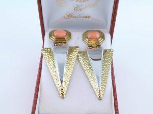 Boucles oreilles en corail rose et plaque or BO-Boucles oreilles en corail rose et plaque or BO-CO-RO-012