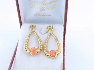 Boucles oreilles en corail rose et plaque or BO-CO-RO-019