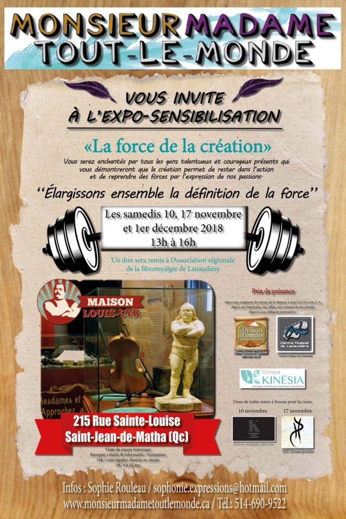 Exposition sensibilisation La force de la création à la Maison Louis-Cyr - 10-17 novembre et 1er décembre 2018