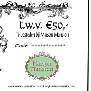 MaisonMansion kadobon 50 euro
