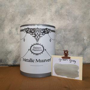 Green Grey Metallic muurverf 1 liter Maisonmansion