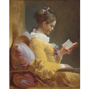 Reverse Young Girl Reading decoupage