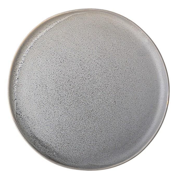 assiette grise en grès bloomingville