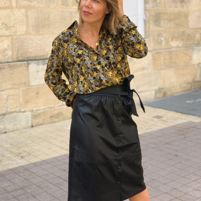 jupe mi longue, jupe simili cuir, jupe structurée, jupe tendance