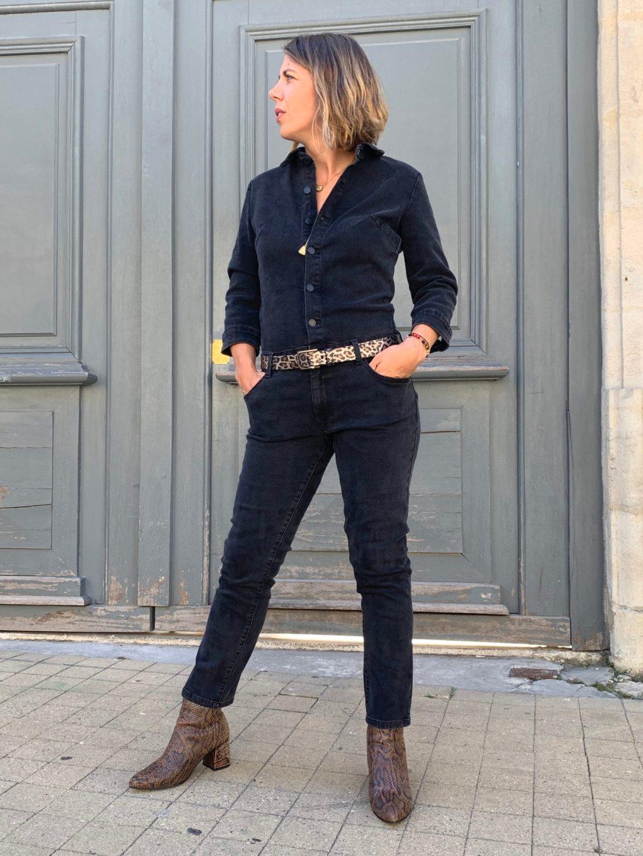 combinaison, combinaison jean, combinaison pantalon, jean noir