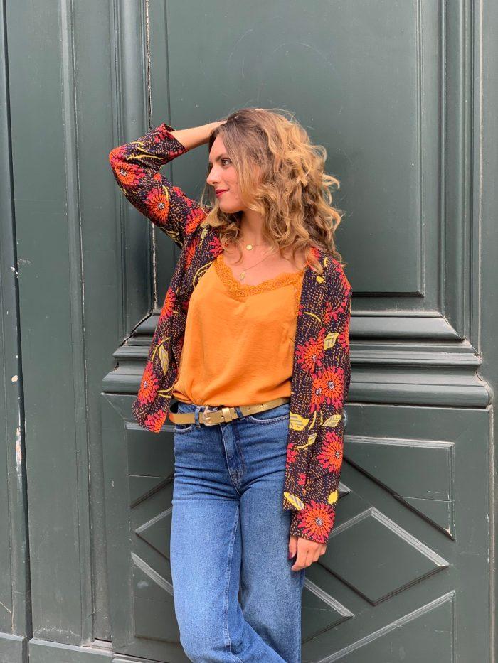 veste coloré, veste imprimé, imprimé fax, veste kimono, veste col chemise