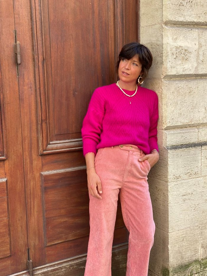 pull rose, maille rose, frnch, maison prune