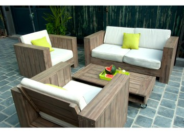 Salon De Jardin En Bois Table Ronde | Salon De Jardin Teck Table ...