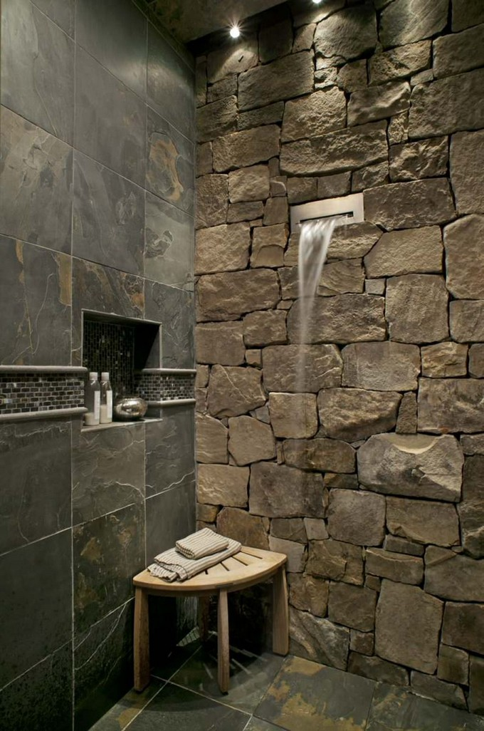 12 LUXURY BATHROOMS WITH STONE WALLS