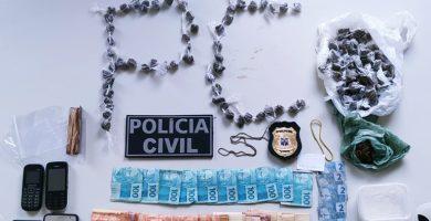 Policiais Civis de Itamaraju apreende drogas e dinheiro