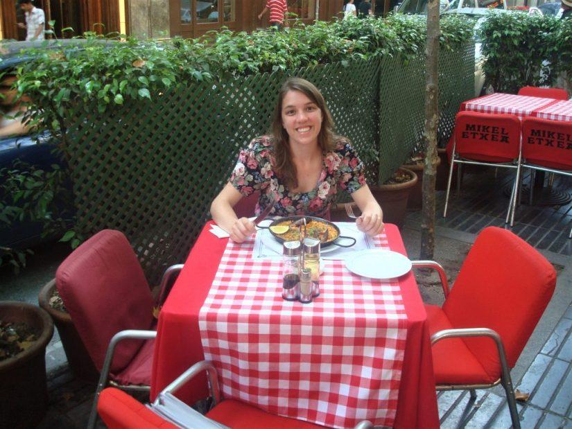 Almoçando paella nas Las Ramblas em Barcelona