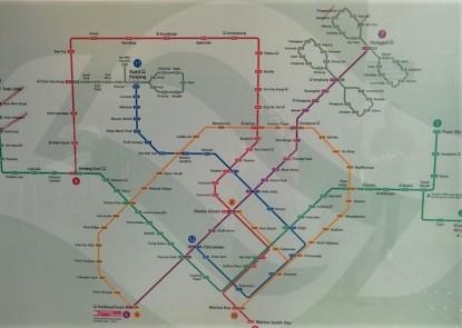 Mapa do metrô em Singapura