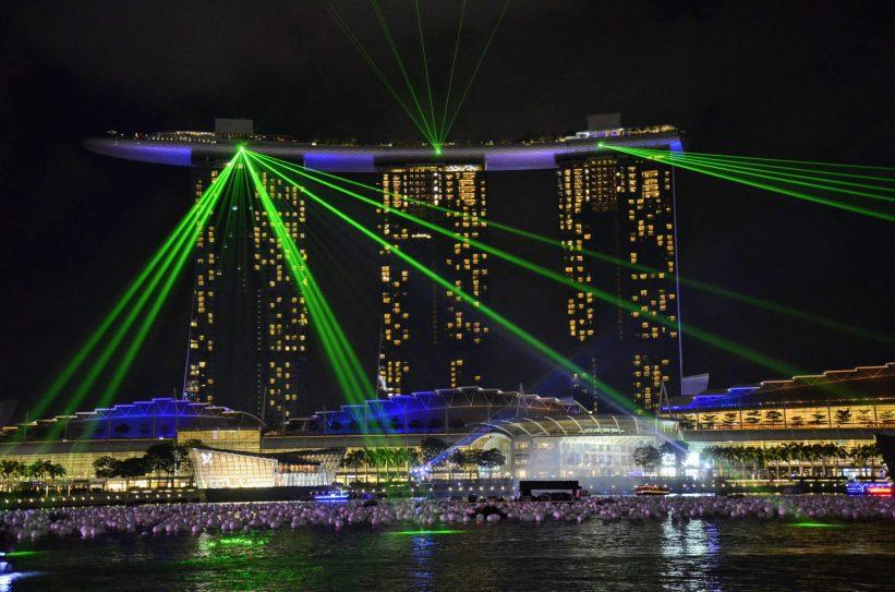 Show de luzes Spectra do hotel Marina Bay Sands em Singapura