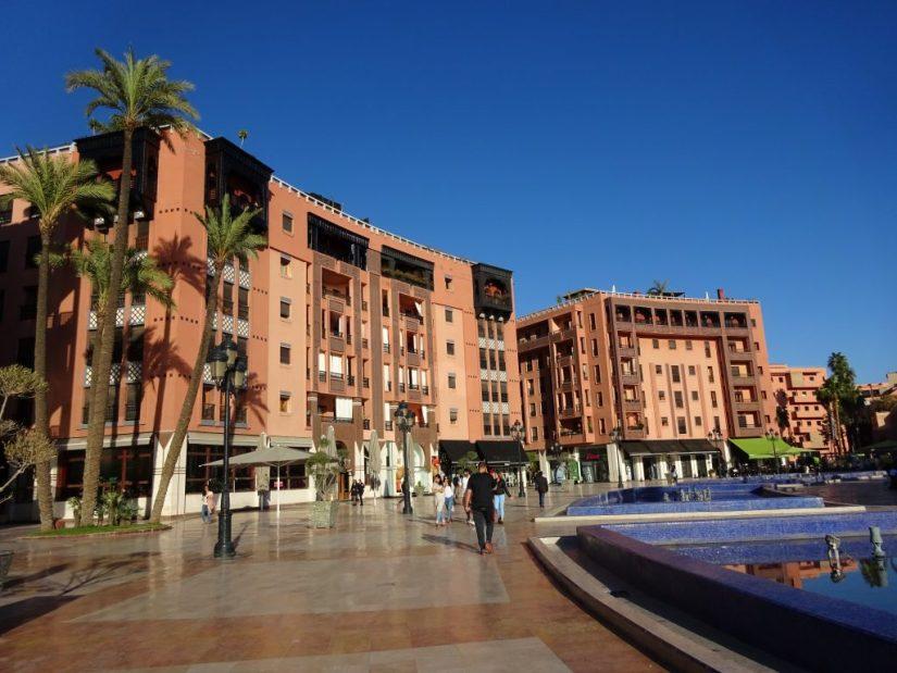 Bairro Gueliz em Marraquexe, Marrocos
