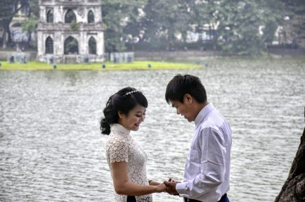 Couple at Hoan Kiem Lake, Vietnam
