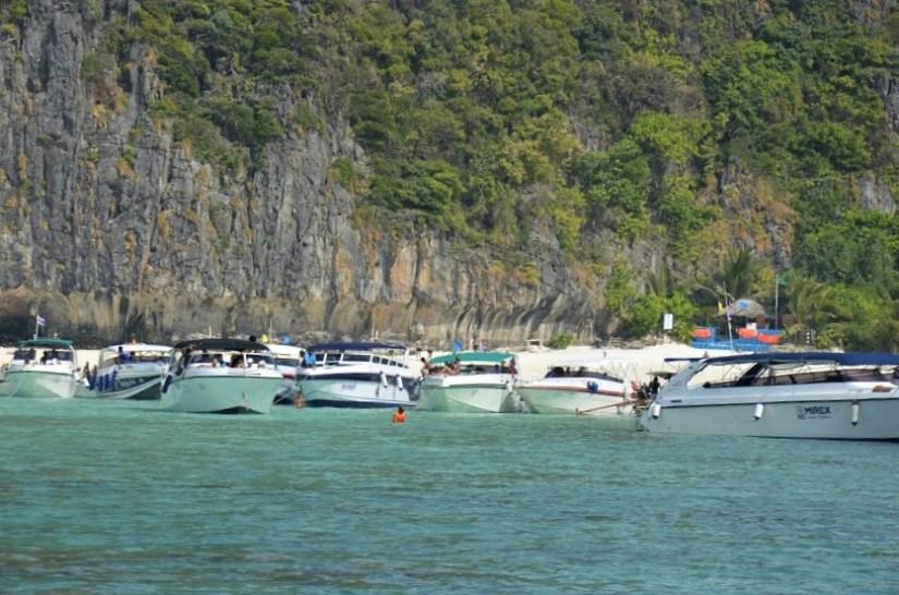 Massive tourists boats in The Beach, Koh Phi Phi Leh