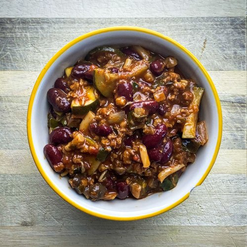 Chili with Mushrooms and Zucchini (plant-based, gluten-free)