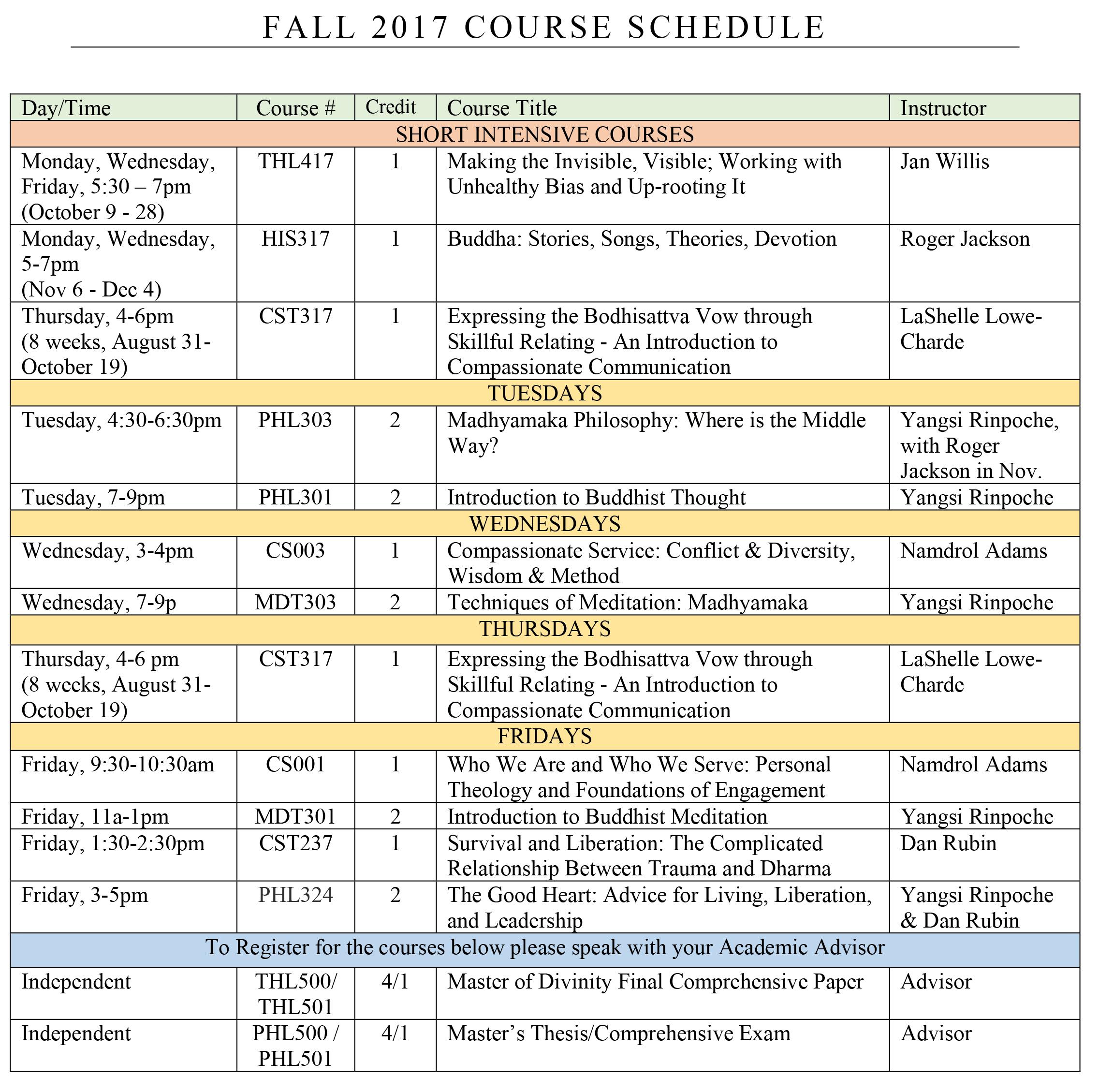 FALL-2017-COURSE-SCHEDULE - Maitripa College