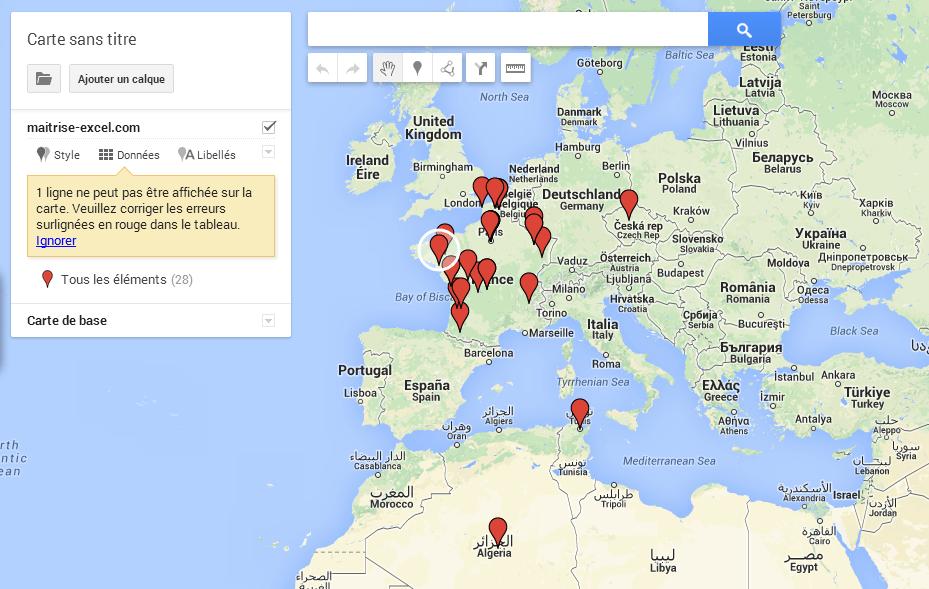 créer une carte avec des repères Comment créer une carte sur Google Map avec Excel