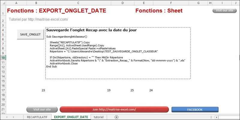 Excel 2013 : Comment sauvegarder un onglet avec date dans répertoire sur Excel VBA en moins de 5 min.