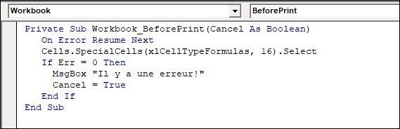 Excel 2013 : Comment bloquer l'impression sur Excel VBA si erreur en moins de 5 min.