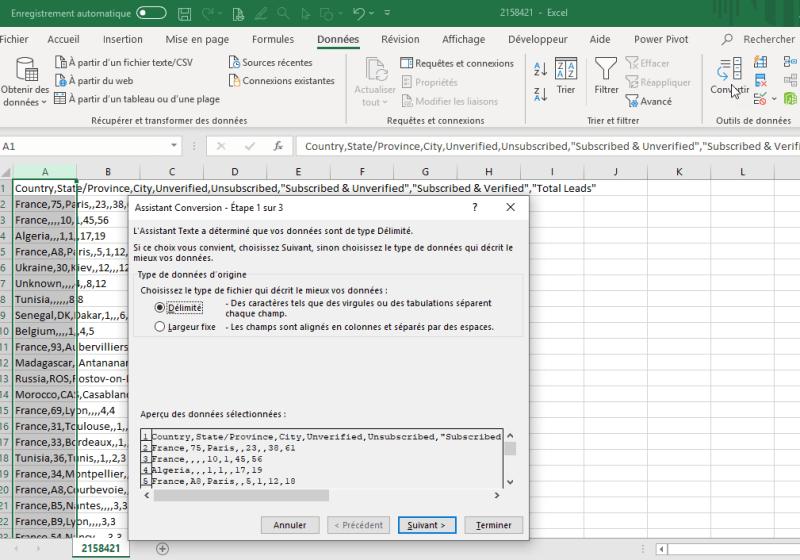 EXCEL 2016 : comment utiliser un fichier .CSV,le convertir, et réaliser une carte choroplèthe en moins de 3 min. EXCEL_2016_EX_EXPLOITER_FICHIER_CSV_ET_FAIRE_CARTE_CHOROPLETHE