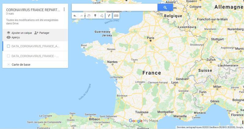 EXCEL 2016 : Coronavirus sur Google maps France  en moins de 15 min.