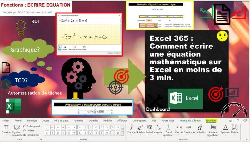 Excel 2016 : Comment écrire une équation mathématique sur Excel en moins de 3 min.