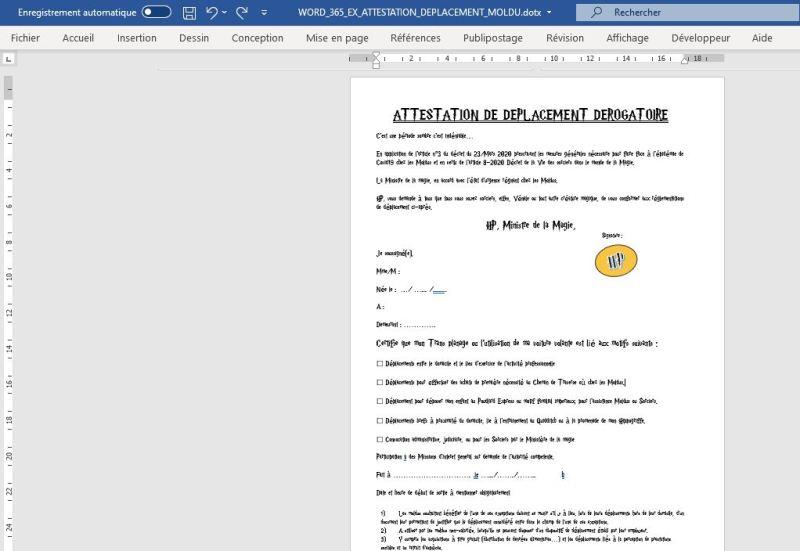 WORD  : Comment faire une attestation de déplacement dérogatoire Poudlard en moins de 15 min.