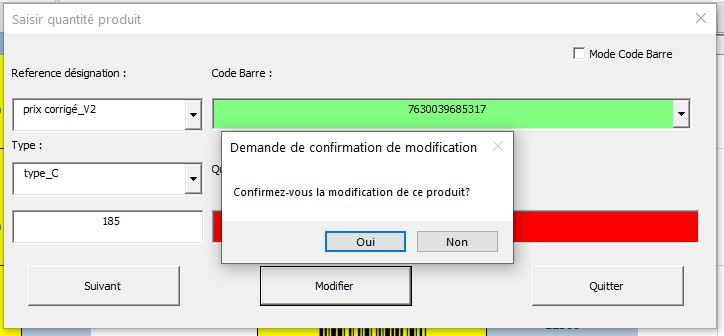 Exemple Userform1 Excel VBA interface Inventaire