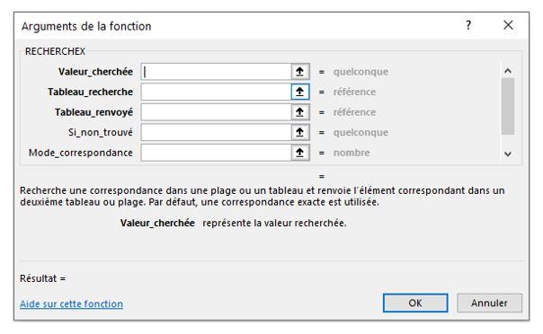 Excel 365 : Comment utiliser la fonction RECHERCHEX  : détail Fonction