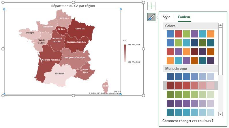 Excel 365 : Comment faire une carte des régions Française sur Excel en moins de 15 min : exemple de palette couleur
