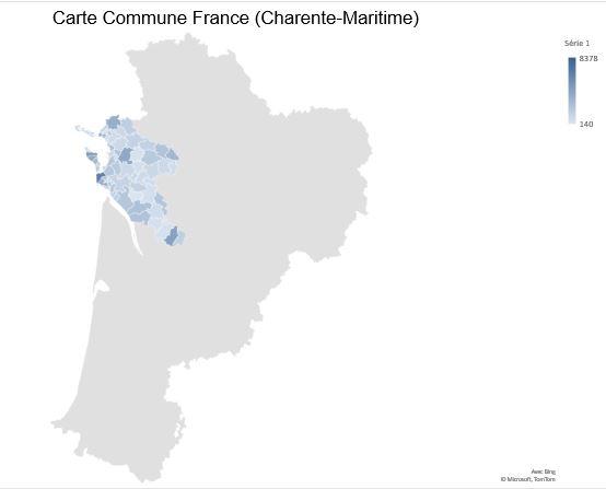 Excel 365 : Créer une carte Choroplèthe exemple carte des communes Charente-Maritime.