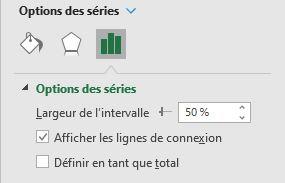 Excel 365 : Créer un graphique de type cascade faire apparaître les lignes de connexion