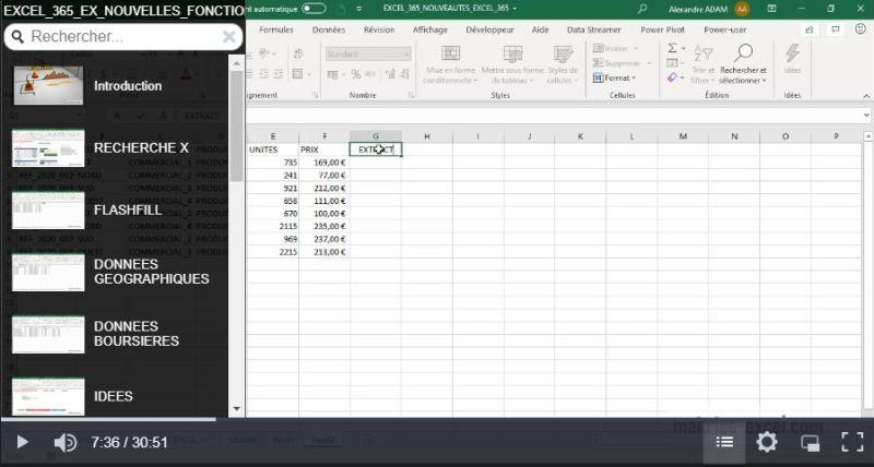 Image extrait de la formation de 30 min :  nouveautés Excel 365