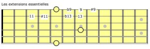 les extensions essentielles à la guitare (corde E grave)