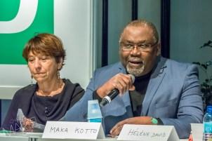 Françoise David et Maka Kotto, conférence de politiciens, Place TD, salon du livre, Place Bonaventure, Montréal, Qc