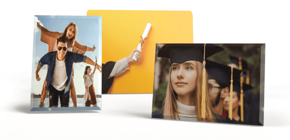 Graduation Pictures on Glass, Metal, Hardboard and more!