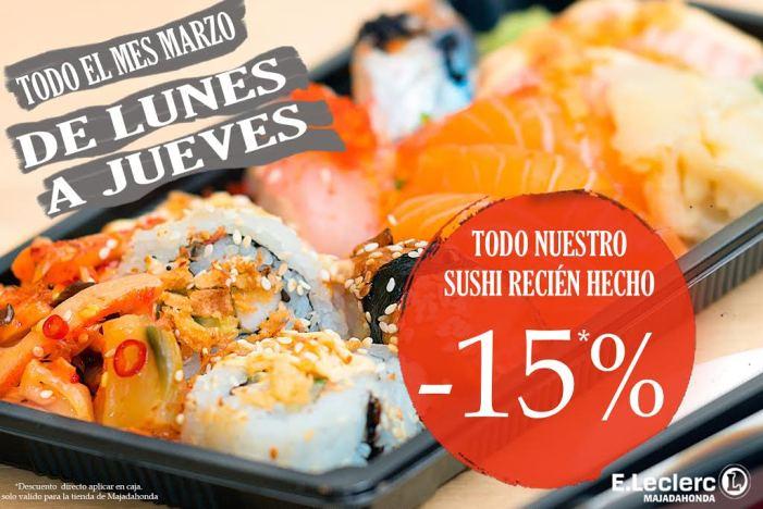 E.Leclerc Majadahonda extiende a todo el mes de marzo el descuento del 15% en sushi (solo de lunes a jueves)