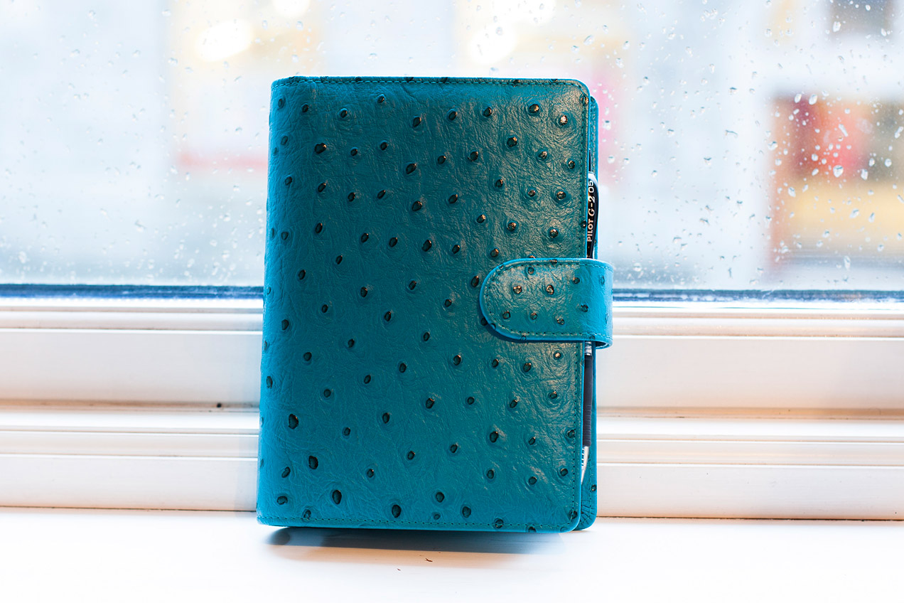 Custom made Van der Spek planner in teal ostrich leather