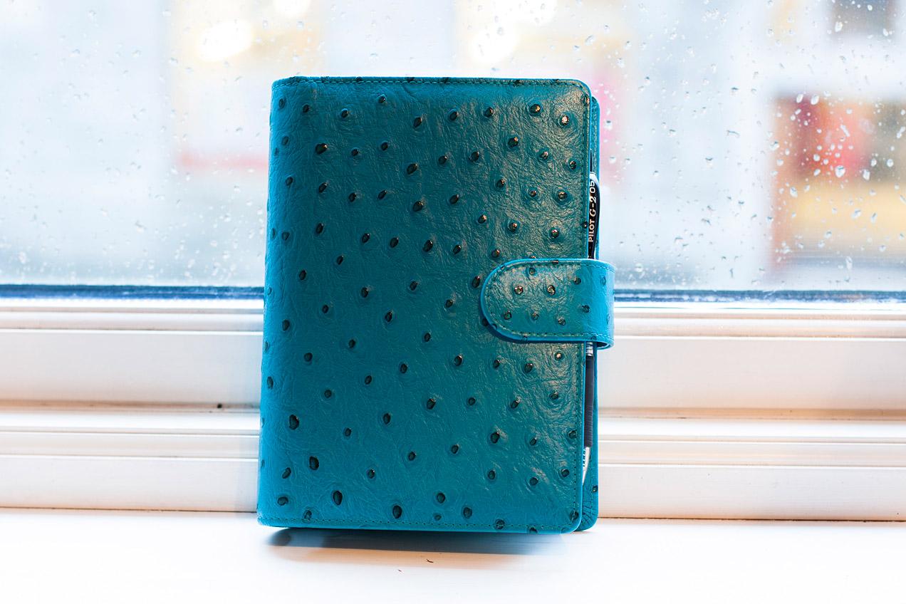Custom made Van der Spek planner in teal ostrich leather