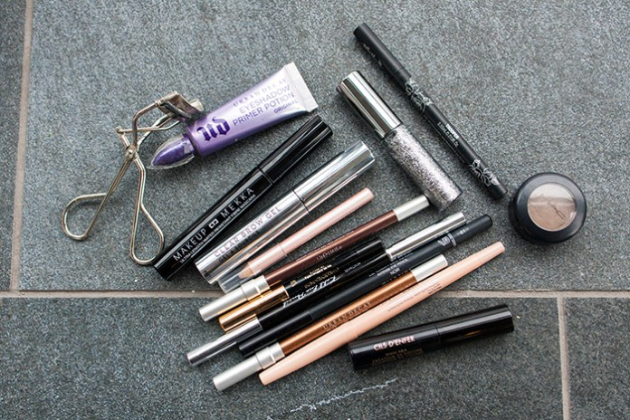 An assortment of eye liners and mascaras