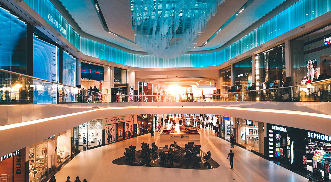 Brightly lit shopping mall