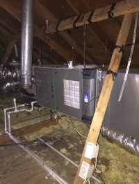 Gas furnace replacement installation with clean effects by