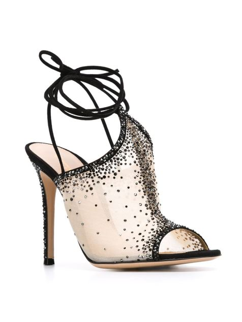 Gianvito Rossi embellished sheer sandals- www.farfetch.com