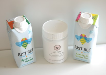 Just Bee drinks and Glow powder