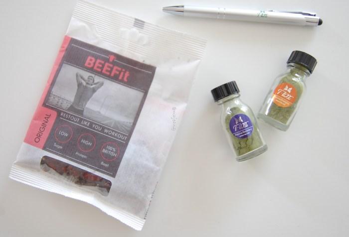 Beefit beef snack and T-tox match tea