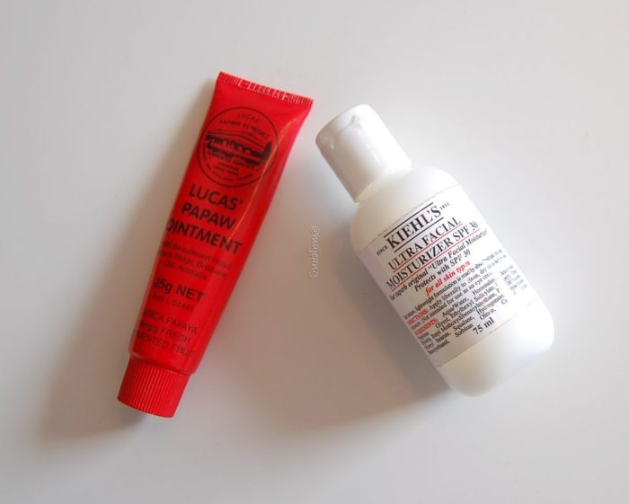 Kiehl's moisturiser and paw paw ointment