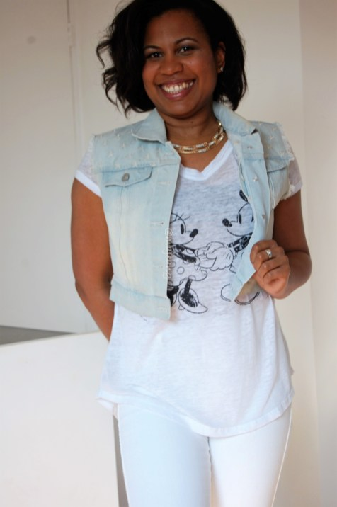 Mickey and Minnie Mouse, denim waist coat and white jeans